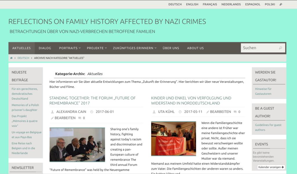 De eerste versie van de blog die werd gelanceerd in 2015