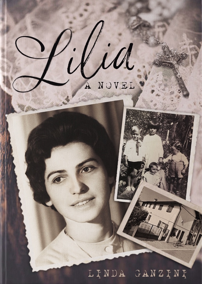 "Cover of the novel ""Lilia"" with a picture of young Lilia, a picture with her brothers and her family's house"