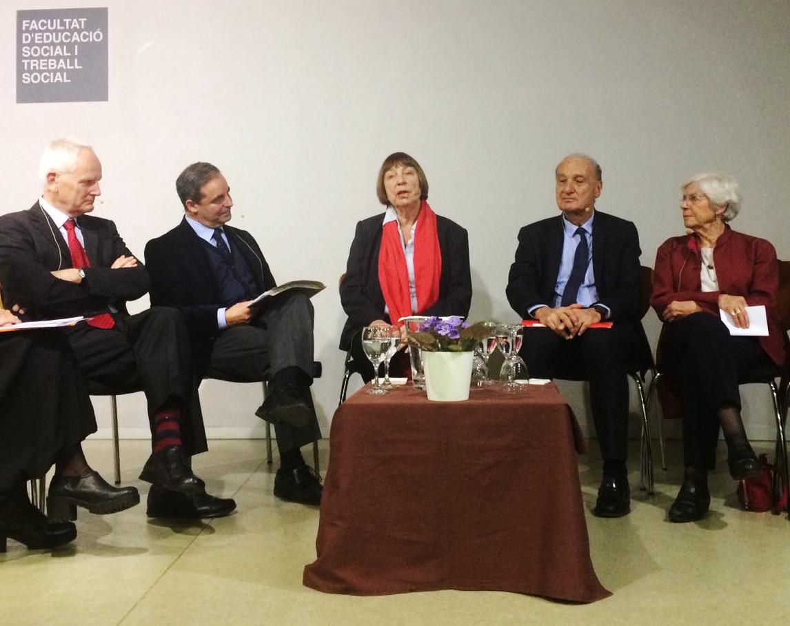 Mitglieder der Memoire a 4 voix auf dem Podium in Barcelona